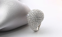 Swarovski Elements Dome Ring - Crystal - 4.62CTTW - Size: 8mm