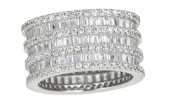 Sterling Silver 3-Row Baguette Eternity Ring - Size: 6