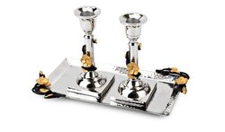Classic Touch 3-piece Stainless Steel Candlestick Set - Black/Gold