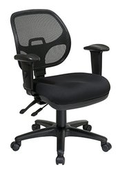 Office Star Breathable ProGrid Back and Padded Seat Ergonomic Task Chair with Adjustable Arms, Black
