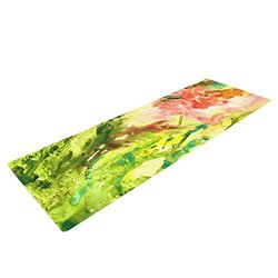 """KESS InHouse Rosie Brown Green Thumb Exercise Yoga Mat, Paint Lime, 72"""" by 24"""""""