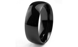 8mm Stainless Steel Black Plated Men's Domed Wedding Band Ring - Size: 12