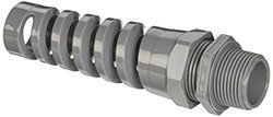 """Hubbell HJ1043GPK25 Jr Cord Connector with Spiral, 0.25"""" to 0.49"""" Cable, 3/4"""", Gray"""