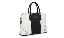 Dasein Collection Color-Block  - Slim Briefcase Handbag - White/Black