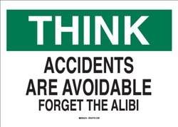 "Brady 70205 Premium Fiberglass Safety Slogans Sign, 10"" X 14"", Legend ""Accidents Are Avoidable: Forget The Alibi"""