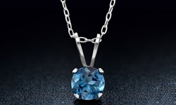 0.65 CTW Genuine London Blue Topaz Necklace