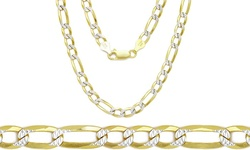 Men's Solid Italian Two tone Figaro Chains -18''