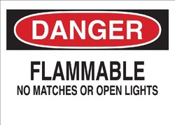 "Brady 71945 Premium Fiberglass Chemical & Hazardous Materials Sign, 10"" X 14"", Legend ""Flammable No Matches Or Open Lights"""