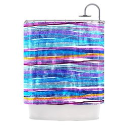 "Kess InHouse Frederic Levy-Hadida ""Fancy Stripes Dark Blue"" Shower Curtain, 69 by 70-Inch"