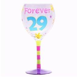 """Tumbleweed """"Forever 29"""" Birthday Wine Glass"""