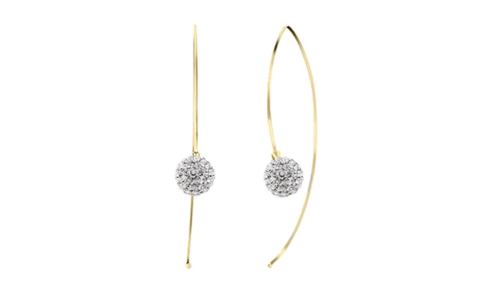 Sterling Silver Crystal Ball Pull Through Threader Earrings Gold Cz