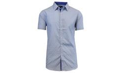 Harvic Men's Slim Fit Plaid Button Down Shirts - Blue - Size: XXL