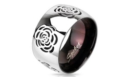 Rose Cut-Out Domed Ring in High-Polish Stainless Steel - Size: 9