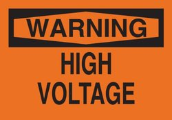 "Brady 69586 Premium Fiberglass Electrical Hazard Sign, 10"" X 14"", Legend ""High Voltage"""