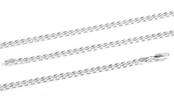 "Men's 20"" Sterling Silver Heavy Weight Chain Necklace - Curb Design"
