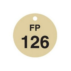 "Brady 1/2"" Numbers 126-150 Legend ""FP"" Stamped Brass Valve Tags - 25-Pack"