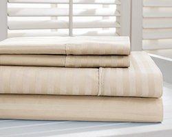 Hotel New York 4Pcs 800 TC Dobby Striped Bed Sheet Set - Taupe- Size: King
