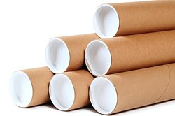 """Premium Kraft Cardboard Mailing Tubes - 2"""" x 6"""" - 2"""" Opening Diameter 6"""" in Length - Case of 50 Shipping Tubes with White End Caps (2x6)"""