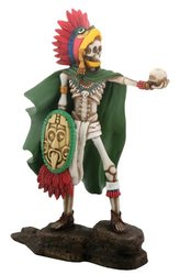 "YTC 7"" H x 2.5"" W x 4.5"" L Aztec Eagle Warrior Skeleton Figurine - Multi"