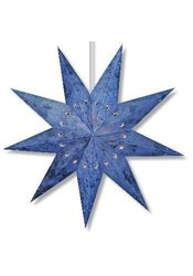 "Paper Star Lantern - Batik Blue 9 Point - With 12"" White Electric Cord SLBRBNO"