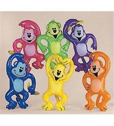 Fun Express Set of 12 Inflatable Neon Monkeys - Assortment