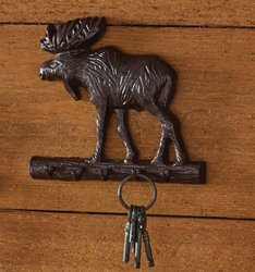 Cast Moose Key Hook - Burl