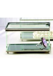 Creative Gifts Glass Rectangular Hinged Jewelry Box