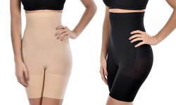 Body Beautiful Women's Seamless High-Waisted Shaping Shorts - Black - M/L