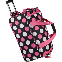 "Rockland 22"" Rolling Upright Duffle Bag - Multiple Pink Dot"