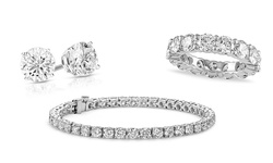 18K White Gold Plated Brass Swarovski Elements Eternity Ring & Earring Set
