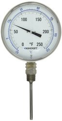 "Ashcroft Series EI Stainless Steel Case Bimetal Thermometers, 5"" Dial Size, 1/2"" NPT Lower Connection, 4"" Stem Length, Dual Scale, 0/200 Degrees Fahrenheit"