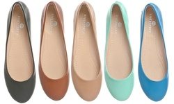 Riverberry Women's Ella Ballet Flat Slip On Shoes- Brown pu- 9B(M) US