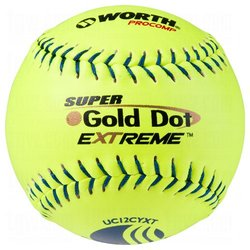 """12"""" USSSA Stamped Slowpitch Optic Procomp Cover Ball - Yellow - Pack of 12"""