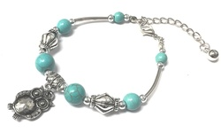 Sterling Silver 18K Gold Plated Owl Charm Bracelet - Turquoise