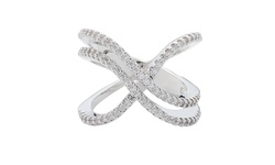 Swarovski 18K White Gold Plated Brass Elements 5-Row X Ring - Size: 5