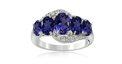 2ct Created Blue Sapphire & White Topaz 5-Stone Ring - Size: 8