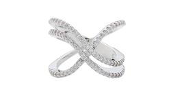 Swarovski Elements Women's 18K Double X Ring - White Gold - Size: 7