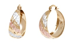Sevil Women's 18K Gold Plated Tri Gold Diamond Cut Hoop Earrings - Gold