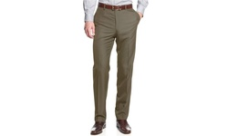 Pronto Men's Uomo Sharkskin Slim Fit Dress Pants - Taupe - Size: 34-30