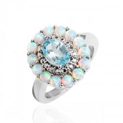 Sevil Women's 18K WG Diamond Flower Ring - White Opal/Blue Topaz - Size: 7