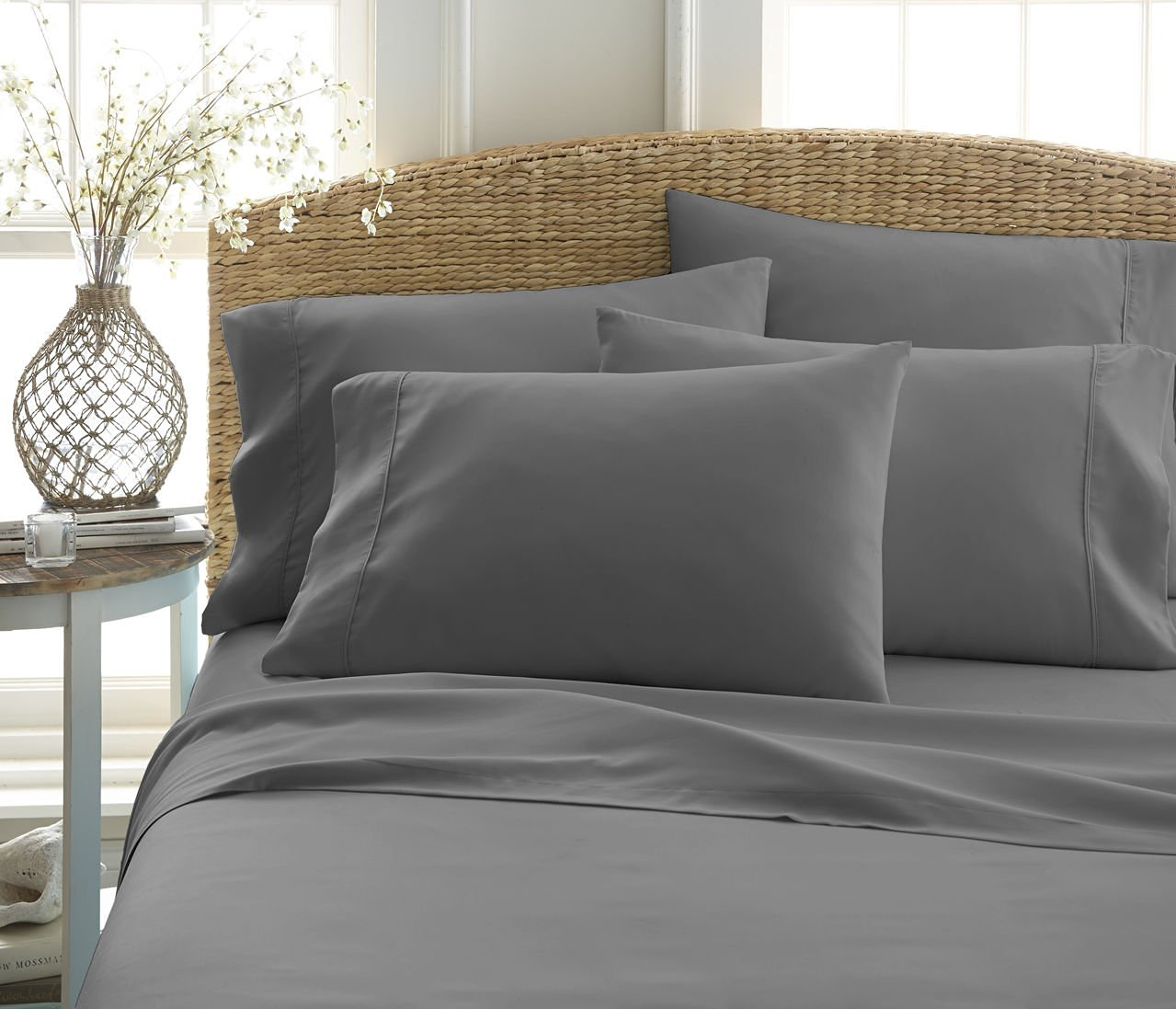 ... Ienjoy Home 6 Pcs Wrinkle Free Bed Sheet Set   Gray   Size: C King ...