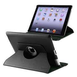 Insten 360-degree Swivel Leather Case For Apple iPad 2 / 3 / 4 - Black