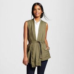 Www Fashion M Paris Women's Belted Vest - Solid Green - Medium