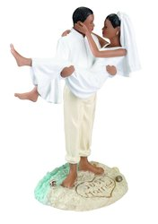 "Lillian Rose 6.75"" African American Just Married Beach Wedding Figurine"