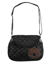 NCAA Auburn Tigers Women's Sport Noir Quilted Saddle Bag - Black