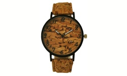 Geneva Unisex Cork and Wood Watches - Light Brown - Size: 50mm x 8