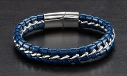 Men's Stainless Steel Curb Chain Bracelets Intertwined Leather - Blue/Silver