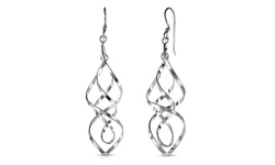 Sterling Silver Solid Drop Interlock Earrings