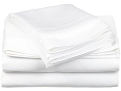 650TC 100  Cotton Solid King 4PC Sheet Set  White