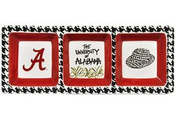 Magnolia Lane Alabama Crimson Tide Houndstooth 3 Section Serveware Tray